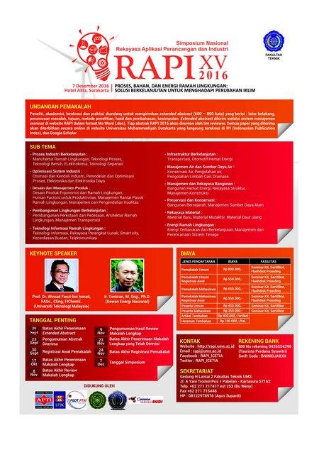 Simposium Nasional Rekayasa Aplikasi Perancangan dan Industri (RAPI) XV 2016
